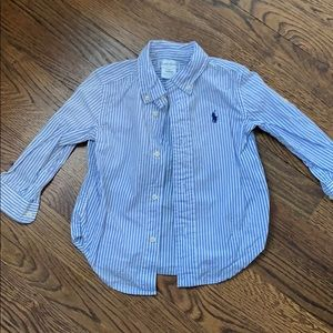 Boys Ralph Lauren Blue & White Striped Button Down
